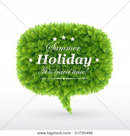 Summer Bubble for speech, Green leaves. Vector illustration.