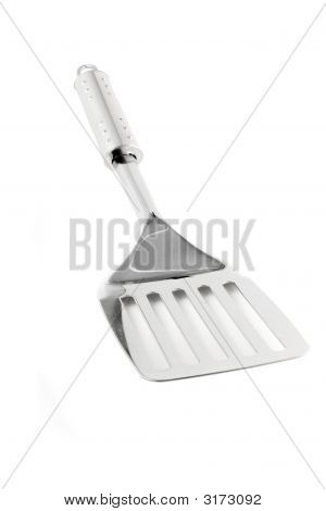 Kitchen Utensil - Stainless Spatula Isolated On White