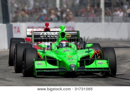 LONG BEACH - APRIL 17: Danica Patrick driver of the #7 Team GoDaddy Andretti Autosport Dallara Honda races during the IndyCar Series Toyota Grand Prix on April 17 2011 in Long Beach.6