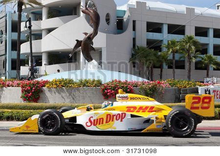LONG BEACH - APRIL 17: Ryan Hunter-Reay driver of the #28 Andretti Autosport Team DHL / Sun Drop Citrus Dallara Honda races during the IndyCar Series Toyota Grand Prix on April 17 2011 in Long Beach.