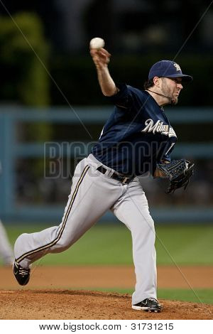 LOS ANGELES - MAY 16: Milwaukee Brewers P Shaun Marcum #18 pitches during the Major League Baseball game on May 16 2011 at Dodger Stadium in Los Angeles.