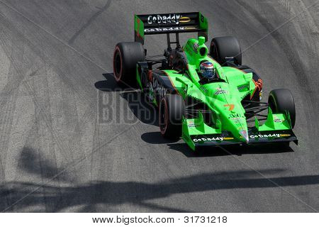 LONG BEACH - APRIL 17: Danica Patrick driver of the #7 Team GoDaddy Andretti Autosport Dallara Honda races during the IndyCar Series Toyota Grand Prix on April 17 2011 in Long Beach.