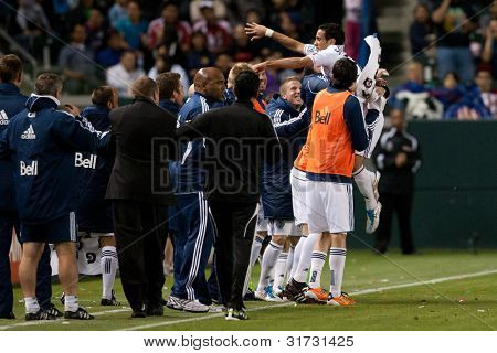 CARSON, CA. - JUNE 1: Vancouver Whitecaps FC F Camilo #37 celebrates a goal during the MLS game between Vancouver Whitecaps & Chivas on June 1 2011 at the Home Depot Center.