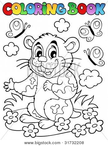 Coloring book with cartoon hamster - vector illustration.