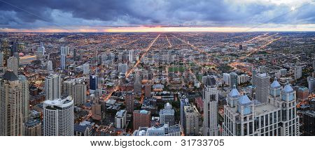 Chicago skyline panorama aerial view with skyscrapers with cloudy  sky at sunset.