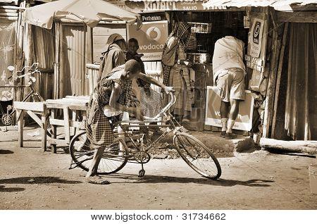 Masai use bike for transportation