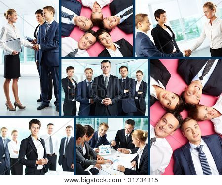 Collage of business people interacting at meeting and posing in front of camera