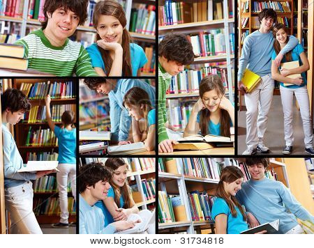 Collage of two students reading books and interacting in library