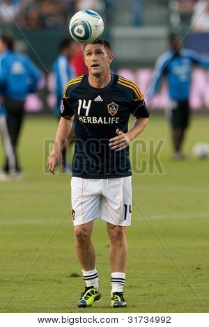 CARSON, CA. - AUG 20: Los Angeles Galaxy F Robbie Keane #14 before the MLS game between the San Jose Earthquakes & the Los Angeles Galaxy on Aug 20 2011 at the Home Depot Center in Carson, Ca.