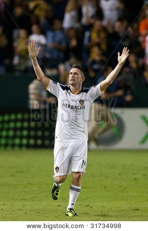CARSON, CA. - AUG 20: Los Angeles Galaxy F Robbie Keane #14 during the MLS game between the San Jose Earthquakes & the Los Angeles Galaxy on Aug 20 2011 at the Home Depot Center in Carson, Ca.