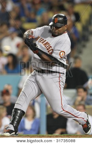 LOS ANGELES - SEP 3: Giants 3B Pablo Sandoval #48 during the Giants vs. Dodgers game on Sep 3 2010 at Dodgers Stadium in Los Angeles.