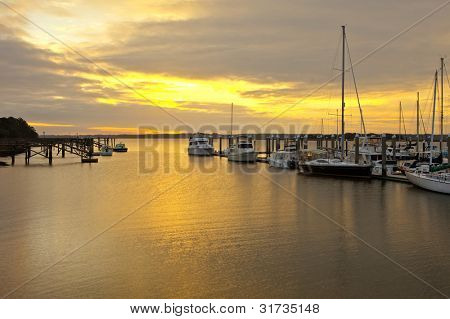 marina at sunset in beaufort south carolina
