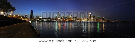 Panoramic view of chicago at dusk - Stitched from several images