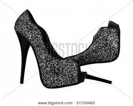 Постер, плакат: Черный серый белый высокие каблуки открытых ног насос обувь, холст на подрамнике