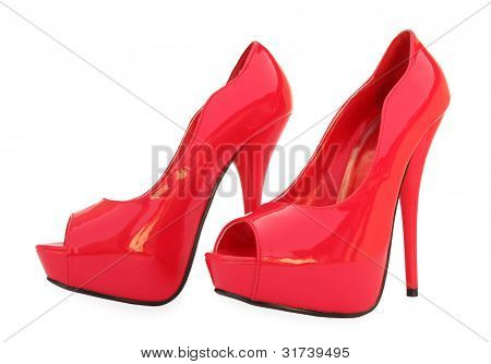 Red high heels open toe pump shoes