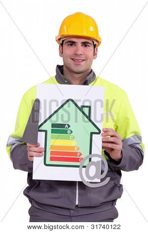 A construction worker holding a trowel, an energy efficiency rating sign and the at symbol