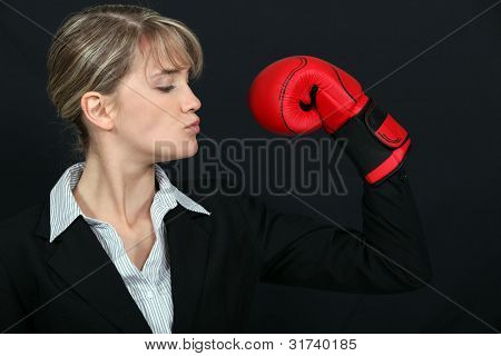 Business professional loving her new tough look