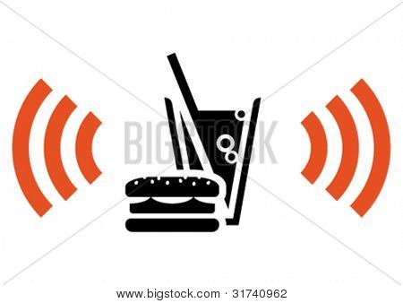 Icon of fast food cafe with Wi-Fi hotspot