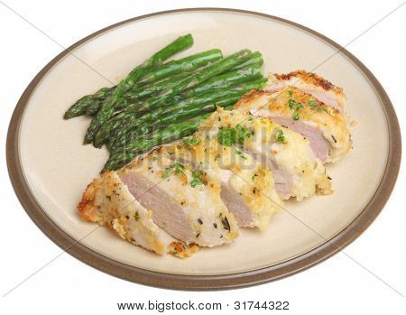 Chicken breast fillet encrusted with breadcrumbs, lemon, Parmesan cheese and herbs.