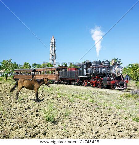 tourist train Valle de Los Ingenios, Manaca Iznaga, Sancti Spi�?�ritus Province, Cuba