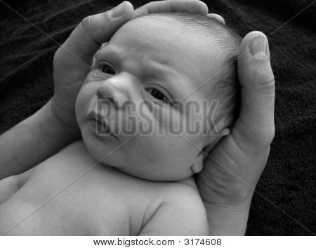 Baby A Wake  In Hands Black And White