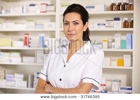 Portrait American pharmacist at work