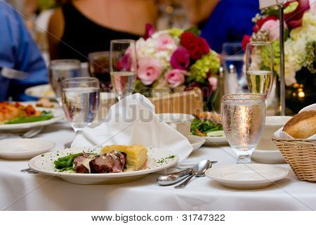 Food set out on a plate during a wedding or other catered event.