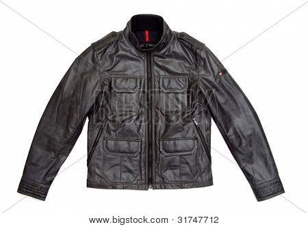 black leather jacket isolated on white background