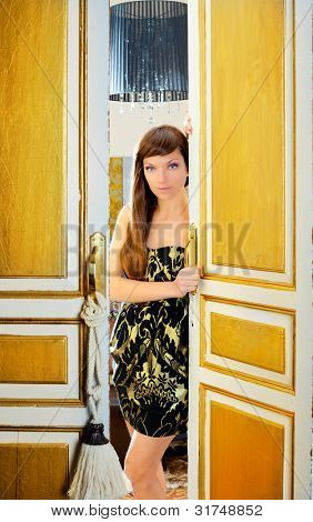 elegance fashion woman in hotel room door sensual invitation