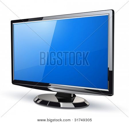 lcd screen monitor, 3d vector illustration.
