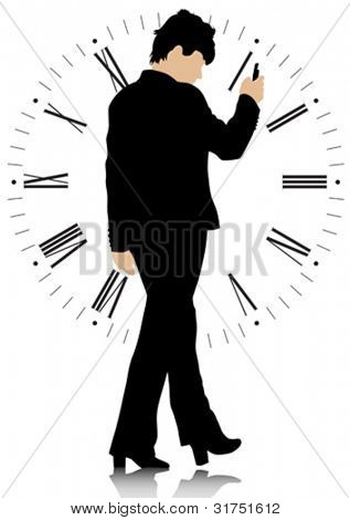 Vector graphic group of businesswomen on background of clock