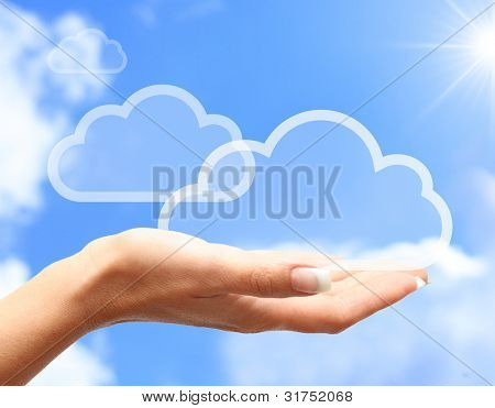Hand with cloud computing symbol against blue sky.