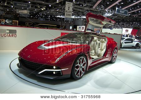 GENEVA SWITZERLAND - MARCH 12: The Giugiaro Stand displaying a full view with open gullwing door of their new Concept, at the Geneva Motorshow on March 12th, 2012 in Geneva, Switzerland.