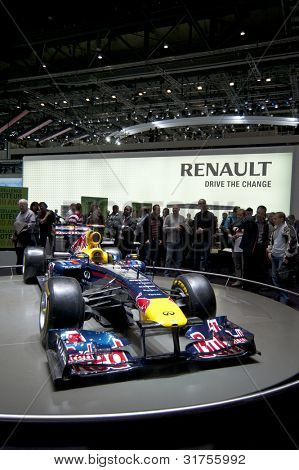 GENEVA SWITZERLAND - MARCH 12: The Renault Stand displaying the 2011 Redbull Racing F1 Car at the Geneva Motorshow on March 12th, 2012 in Geneva, Switzerland.