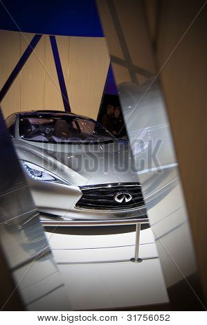 GENEVA SWITZERLAND - MARCH 12: The Infiniti Stand displaying a front end view of  the new Emerge-E Concept, at the Geneva Motorshow on March 12th, 2012 in Geneva, Switzerland.