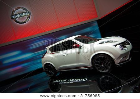 GENEVA SWITZERLAND - MARCH 12: The Nissan Stand displaying side view of their new Juke Nismo Concept, at the Geneva Motorshow on March 12th, 2012 in Geneva, Switzerland.