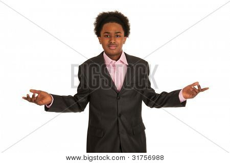 Young business man is saying he really don't know