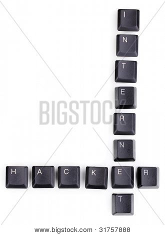 Keyboard keys saying internet-hacker isolated on white