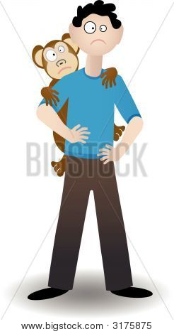 Monkey On His Back - Vector
