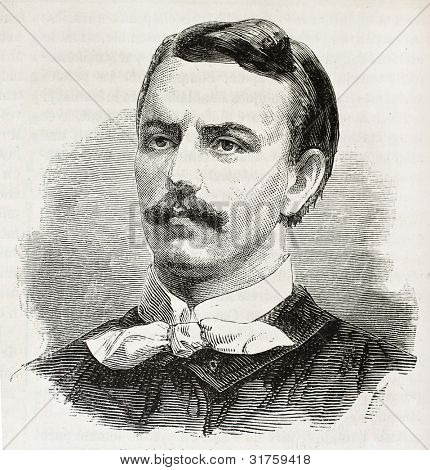 Zygmunt Padlewski old engraved portrait (Polish insurgent).  Created by Chenu, published on L'Illustration, Journal Universel, Paris, 1863