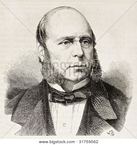 Ernest Baroche old engraved portrait (French Council of State President). Created by Chenu, published on L'Illustration, Journal Universel, Paris, 1863