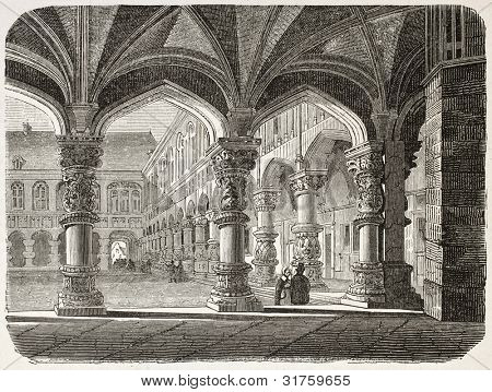 Prince-Bishops' Palace court old view, Liege, Belgium. Created by Ramee, published on L'illustration, Journal Universel, Paris, 1863