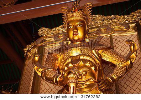 Skanda bodhisattva statue in Tian Wang Dian (Hall of Celestial king). Lian Shan Shuang Lin Monastery, Singapore