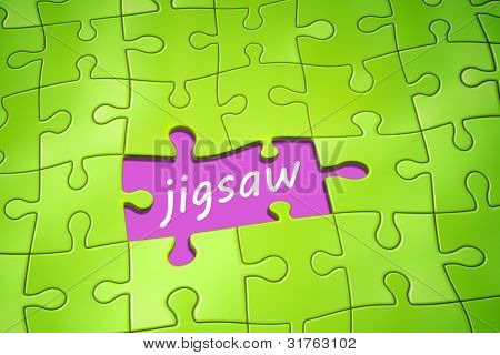 An image of a green jigsaw puzzle