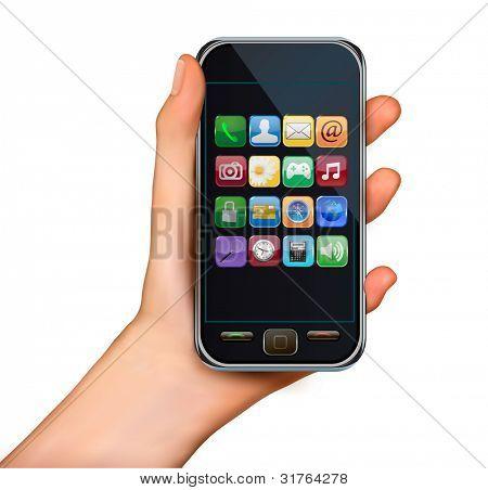 Una mano sosteniendo teléfono móvil de pantalla táctil con iconos. Vector.