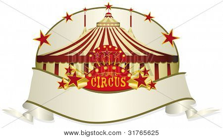 circus ribbon. A circus ribbon. Read your message in the copy space.