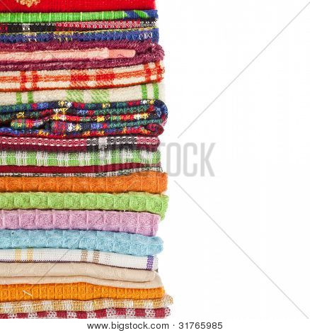 Border of Kitchen towels on white background