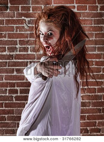 Woman in Horror Situation With Bloody Face