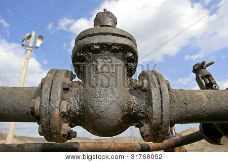Pipes and valves in industrial petrochemical