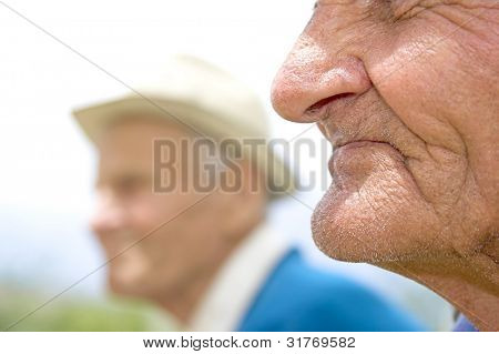 Portrait of two pensioners: 80 years olds (color)